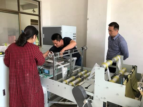 Customer Ordered Eight Roll Vest Bag Making Machine in Tongcheng Plastic Exhibition